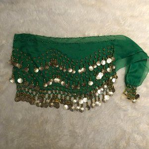 Bellydance   Hip Scarf   Green with Gold Coins